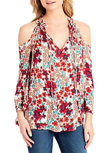 Gloria Printed Cold Shoulder Top
