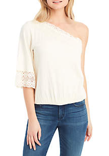 Mina One Shoulder Crochet Trim Top