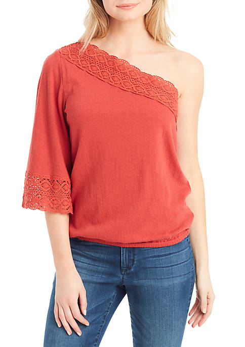 Jessica Simpson Mina One Shoulder Crochet Trim Top