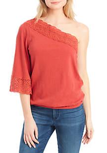 Mina One Shoulder Crochet Trim Top