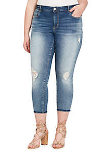 Plus Size Roll Ankle Denim Jeans