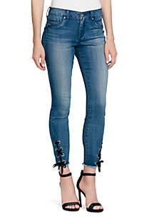 Kiss Me Ankle Lace-Up Hem Jeans