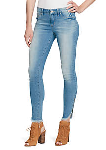 Kiss Me Frayed Zip Jeans
