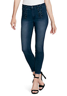 Adored Lace-Up Denim Jeans