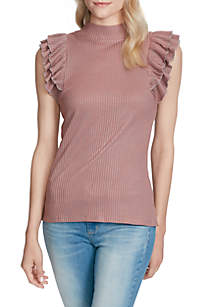 Evaline Ruffle Rib Knit Top