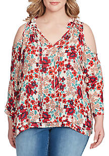 Gloria Cold Shoulder Printed Top