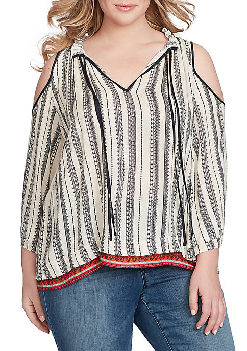 Jessica Simpson Gloria Cold Shoulder Printed Top