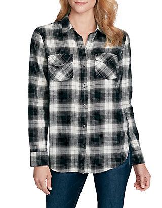Shirt Sleeve Sleeve Long Long Petunia Petunia Plaid Plaid qSpzMUGV