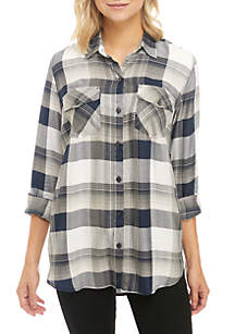 Petunia Plaid Long Sleeve Shirt