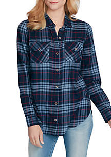 Petunia Plaid Long Sleeve Shirt