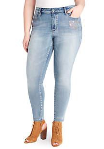 Curvy High Rise Metallic Print Jeans