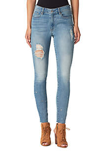 Curvy High Rise Ankle Lace-Up Jeans