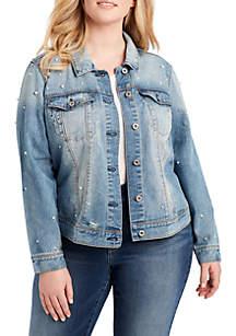 Plus Size Peony Denim Jacket Rivet Pearls