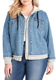 Plus Size Peony Hooded Jacket