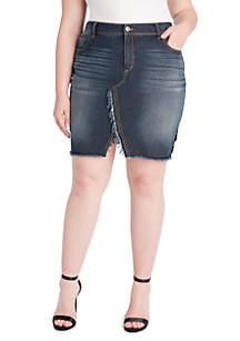 Plus Size Adorn Split Skirt