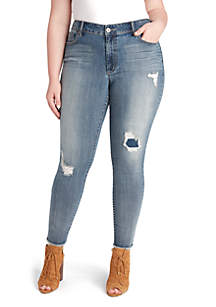 Plus Size High Rise Skinny Destructed Denim Jeans