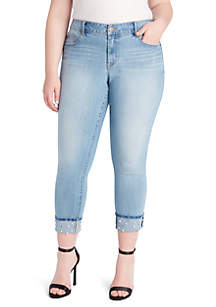 Plus Size Rolled Ankle Wide Cuff Pearl Denim Jeans