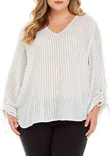 Plus Size Ruched Stripe Print Shirt
