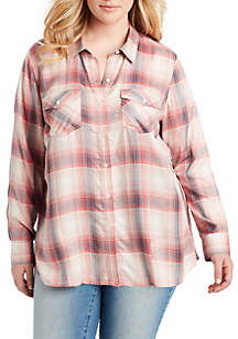 Plus Size Petunia Judy Plaid Woven Shirt