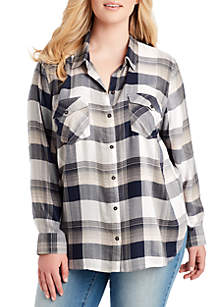 Plus Size Petunia Judy Plaid Woven Shirt