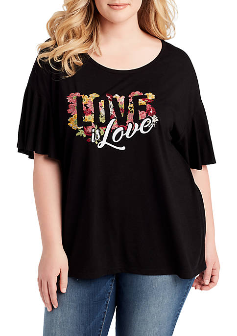 Jessica Simpson Plus Size Jerilyn Graphic Love Tee