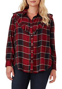 Curvy Ruffle Plaid Blouse