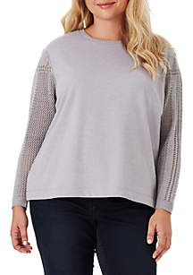 Plus Size Susie Textured Sleeve Sweatshirt