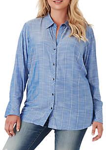 Jessica Simpson Plus Size Xavier Smock Back Shirt