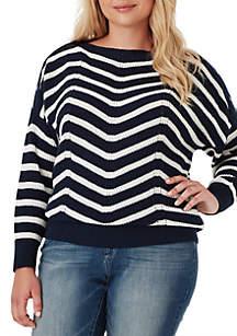 Plus Size Mei Chevron Stripe Sweater