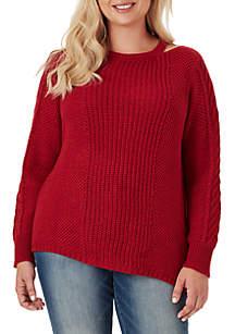 Plus Size Oasis Asymmetric Cutout Sweater