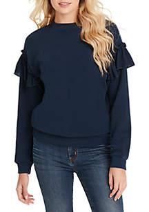 Jessica Simpson Jayna Long Sleeve Ruffle Sweatshirt
