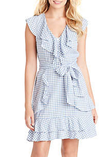 Jessica Simpson Nimah Gingham Fit and Flare Ruffle Dress