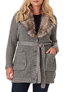 Plus Size Fur Collar Cardigan