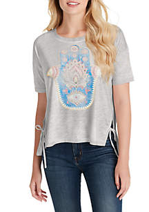 Jessica Simpson Eunice Tie Side Hamsa Hand T Shirt