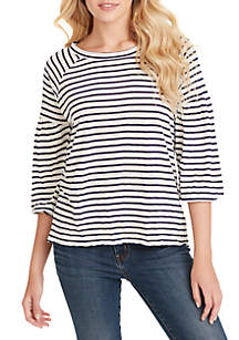 Jessica Simpson 3/4 Sleeve Suwa Striped Top