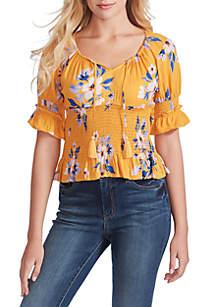 Jessica Simpson Viva Smocked Short Sleeve Top