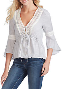 Jessica Simpson Ren Striped Tie Front Woven Blouse
