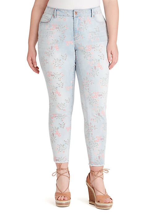 Curvy Adored Floral Skinny Jeans