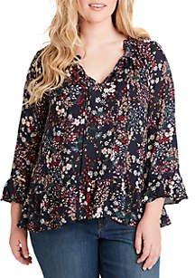 Jessica Simpson Plus Size Bronwyn Button Up Top