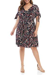 Jessica Simpson Plus Size Brooklyn Tie Sleeve Floral Dress