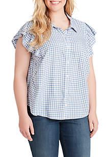 1a391cd22d608 ... Jessica Simpson Plus Size Zaylee Stripe Ruffle Sleeve Woven Shirt