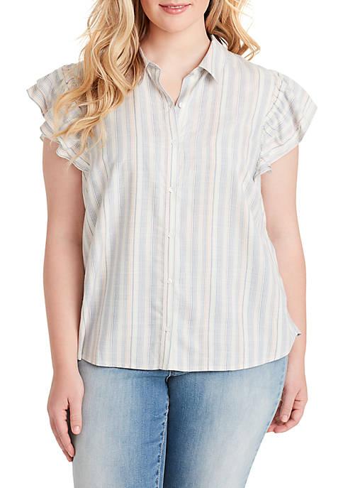 Plus Size Zaylee Stripe Ruffle Sleeve Woven Shirt
