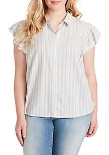 Jessica Simpson Plus Size Zaylee Stripe Ruffle Sleeve Woven Shirt