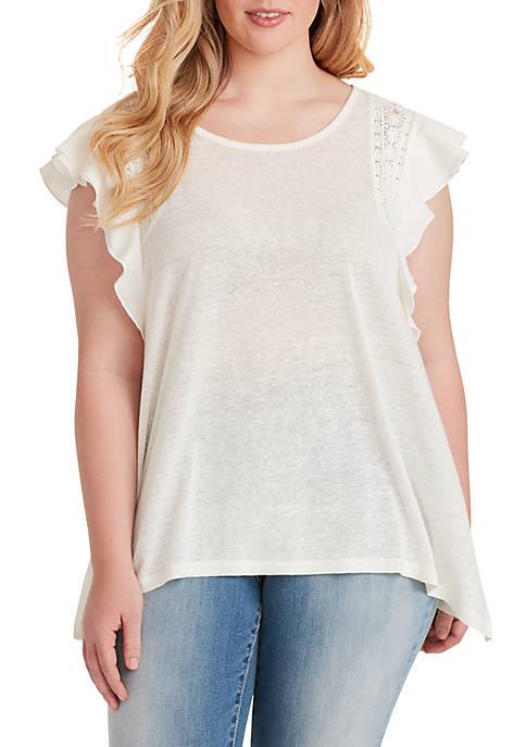 Jessica Simpson Plus Size Moya Lace Trim Top