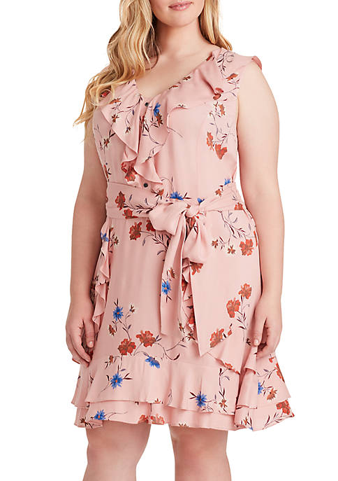 Jessica Simpson Plus Size Nimah Ruffle Floral Dress