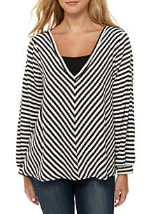 Jessica Simpson Long Sleeve Waffle Knit Top