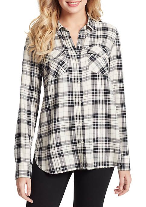 Petunia Plaid Long Sleeve Woven Shirt