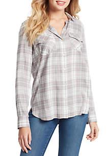 Jessica Simpson Petunia Plaid Long Sleeve Woven Shirt