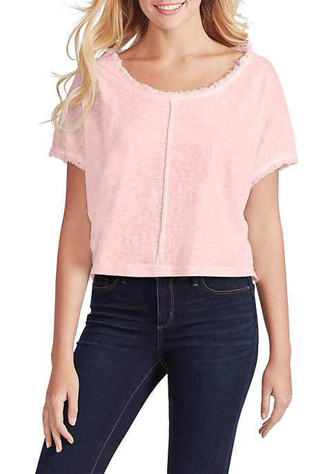 Isabella Short Sleeve Fray Edge Top