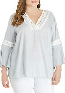 Jessica Simpson Plus Size Striped Woven Crochet Trim Top